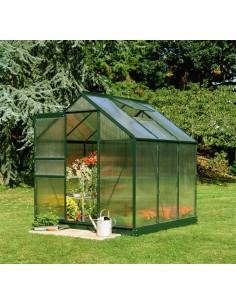 Serre de jardin Popular 3,8 m² laquée verte - Polycarbonate de 4 mm