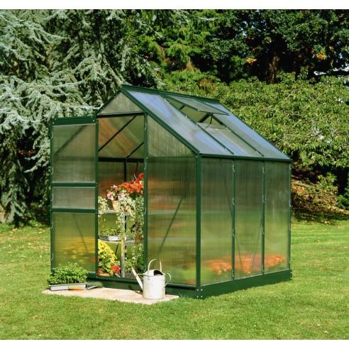 Serre Popular HALLS 3.8 m² laquée verte - Polycarbonate de 4 mm