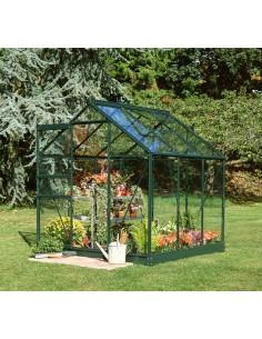 Serre de jardin Popular 3,8 m² laquée verte - Verre horticole de 3 mm