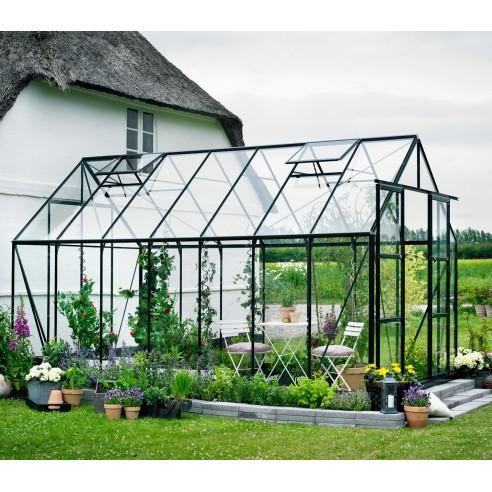 Serre de jardin Magnum 11.5 m² laquée verte - Verre horticole de 3 mm