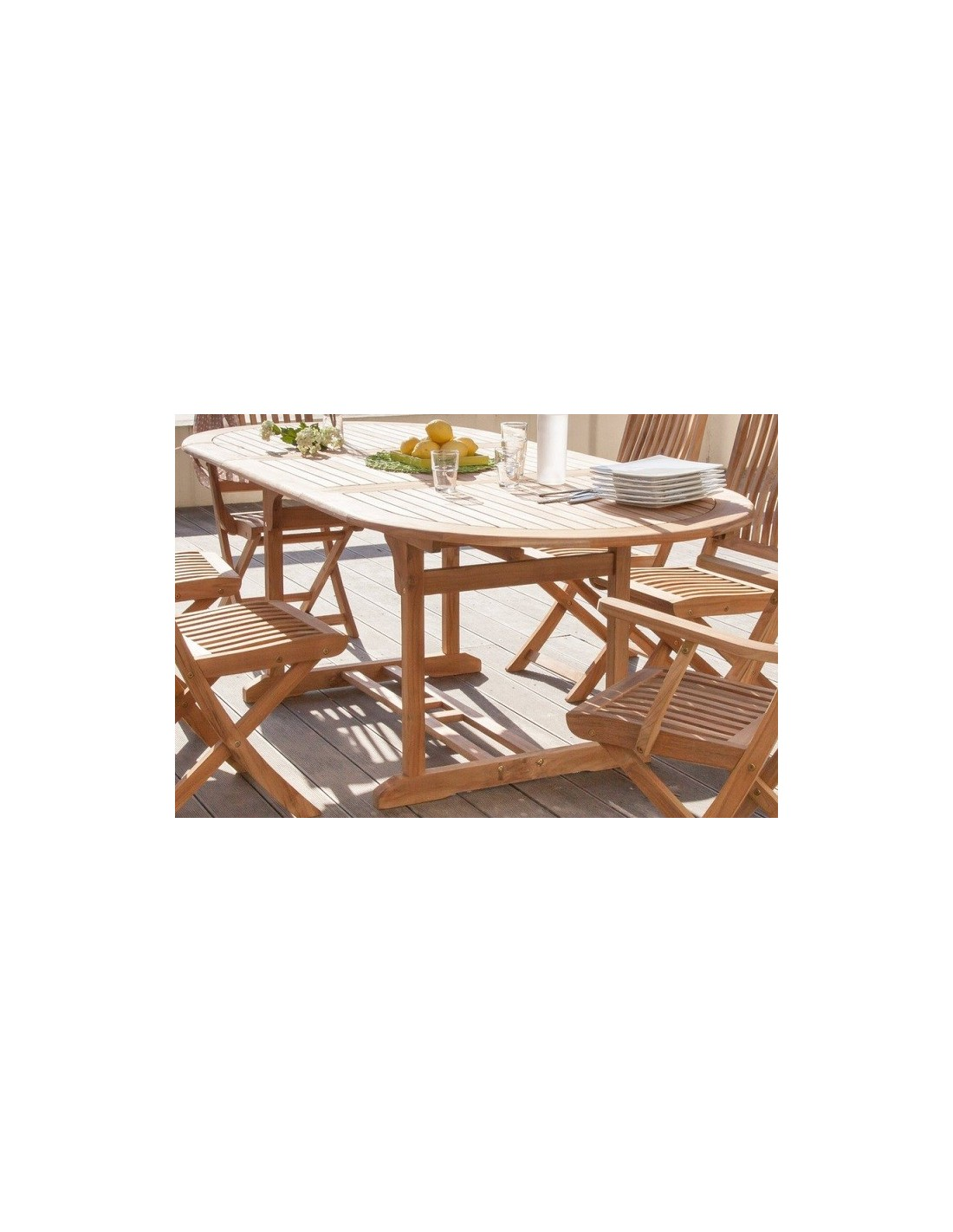 Table de jardin Hampton en teck allonges 160/220 x 100 cm - Proloisirs