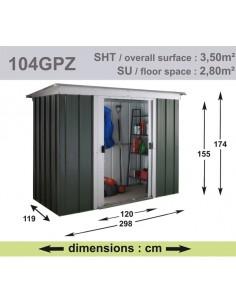 Abri de jardin métal 3.5 m² au choix - Vert sapin