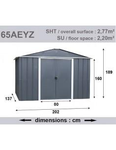 Abri de jardin métal 2.8 m² au choix - Anthracite