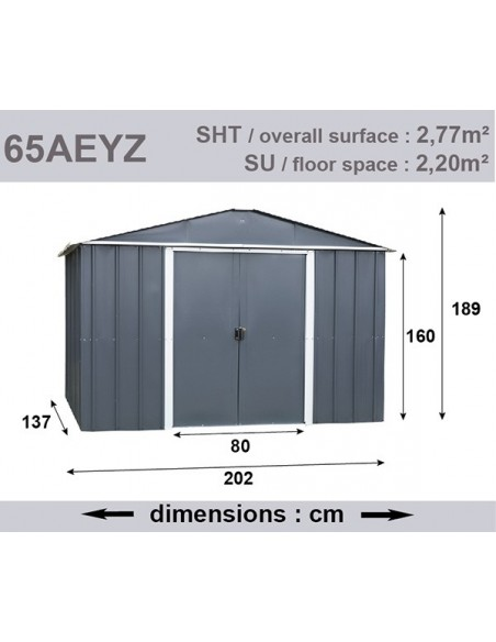 Abri de jardin métal 2.8 m² au choix Anthracite - Trigano Jardin
