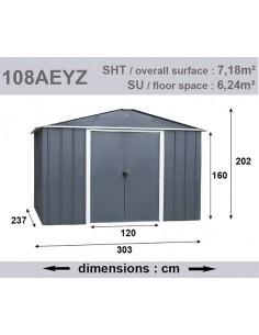 Abri de jardin métal 7.18 m² au choix - Anthracite