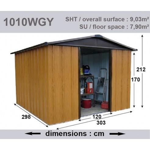 taille 40 26002 2b91e Abri de jardin métal 9 m² au choix - Aspect bois