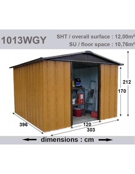 Abri de jardin métal 12 m² au choix - Aspect bois