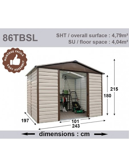 Abri de jardin métal 4.8 m² Taupe au choix - Trigano Jardin