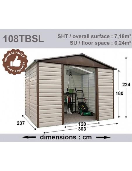 Abri de jardin métal 7.2 m² Taupe au choix - Trigano Jardin