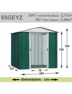 Abri de jardin métal 2.77 m² au choix - Vert sapin