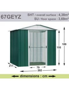 Abri de jardin métal 4.38 m² au choix - Vert sapin