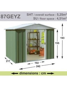 Abri de jardin métal 5.25 m² au choix - Vert sapin