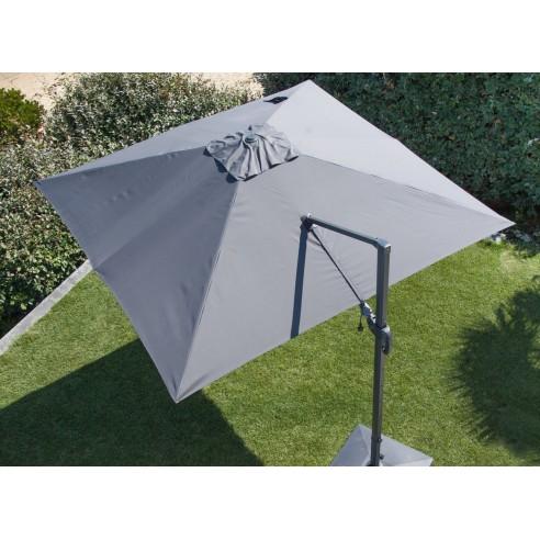 Parasol déporté Grey 3x3 m orientable et rotatif en aluminium