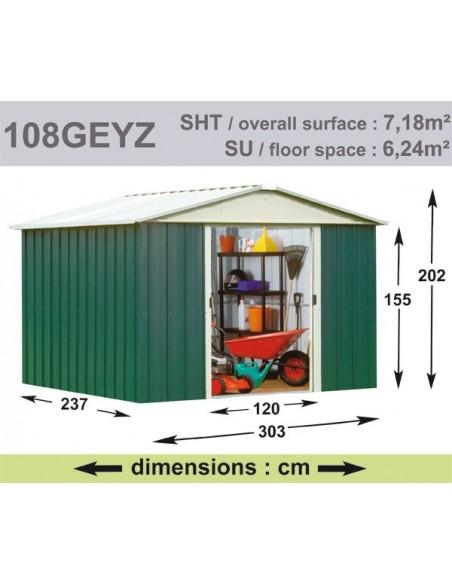 Abri de jardin métal 7.18 m² au choix - Vert sapin