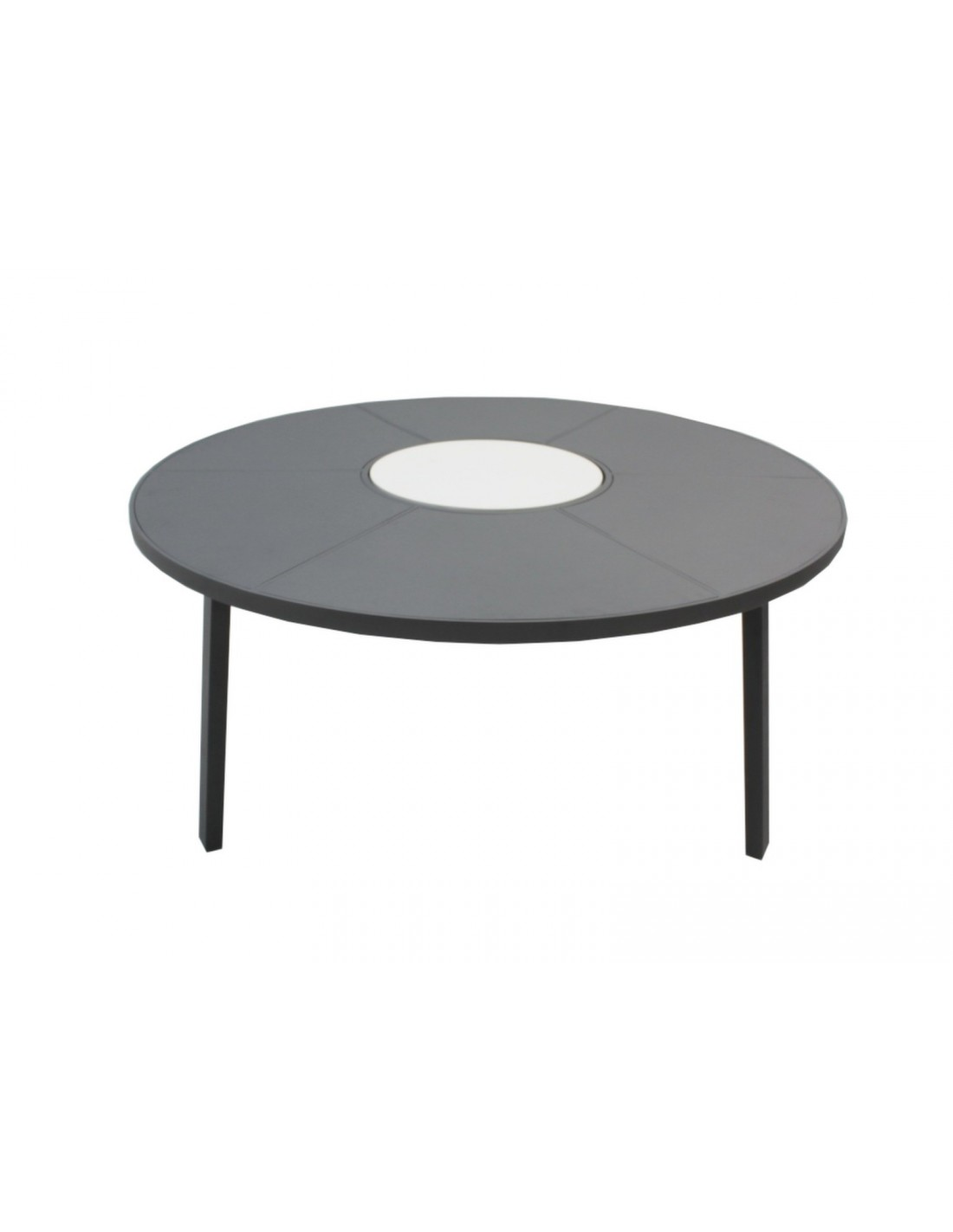table de jardin azur ronde grey ou taupe 150 cm plateau tournant oc o. Black Bedroom Furniture Sets. Home Design Ideas