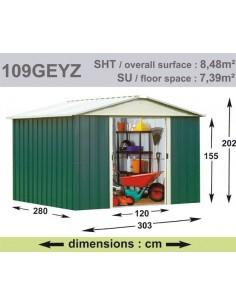 Abri de jardin métal 8.48 m² au choix - Vert sapin