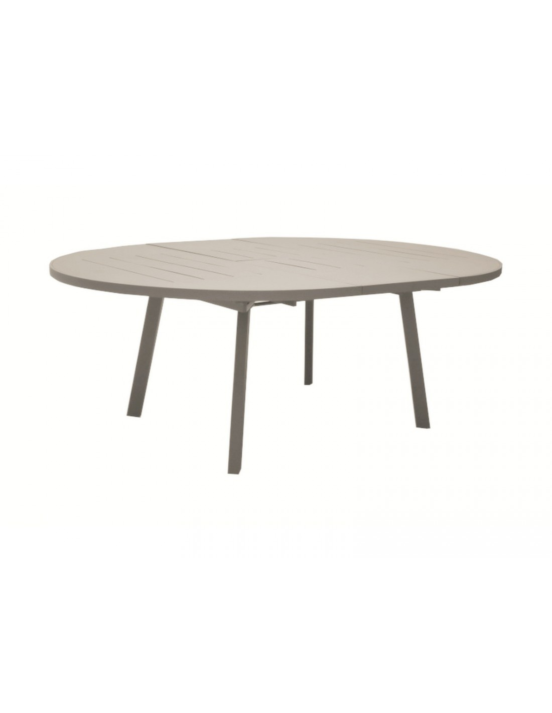 table de jardin azur ronde taupe 150 200 cm avec allonge oc o. Black Bedroom Furniture Sets. Home Design Ideas