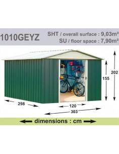 Abri de jardin métal 9.03 m² au choix - Vert sapin