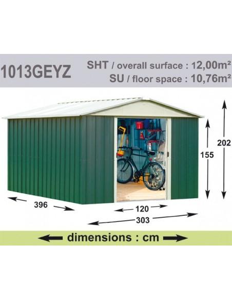 Abri de jardin métal 12 m² au choix - Vert sapin