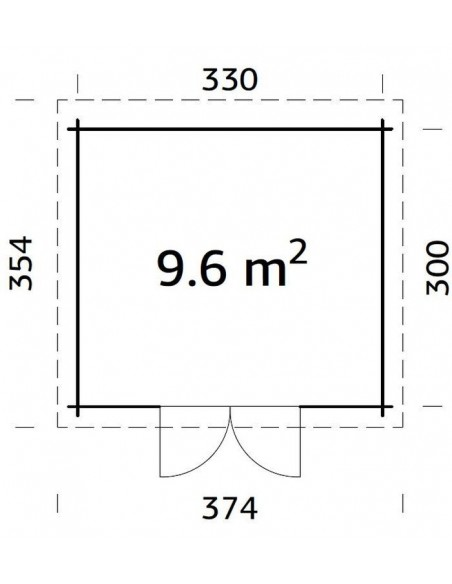 Abri de jardin Elsa 9.9 m² en bois massif 28 mm