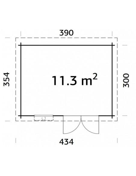Abri de jardin Elsa 11.7 m² en bois massif 28 mm