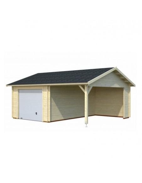 Garage Roger 29 m² avec auvent au choix en bois massif  44 mm