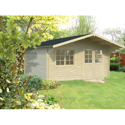 Abri de jardin Britta 18.15 m² en bois massif 40 mm