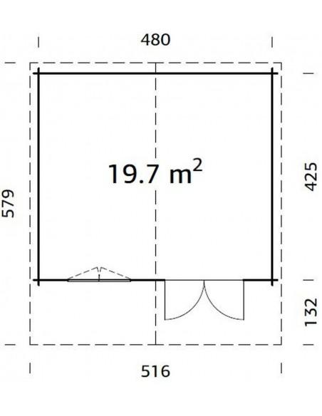 Abri de jardin Britta 19.7 m² - Bois massif 40 mm