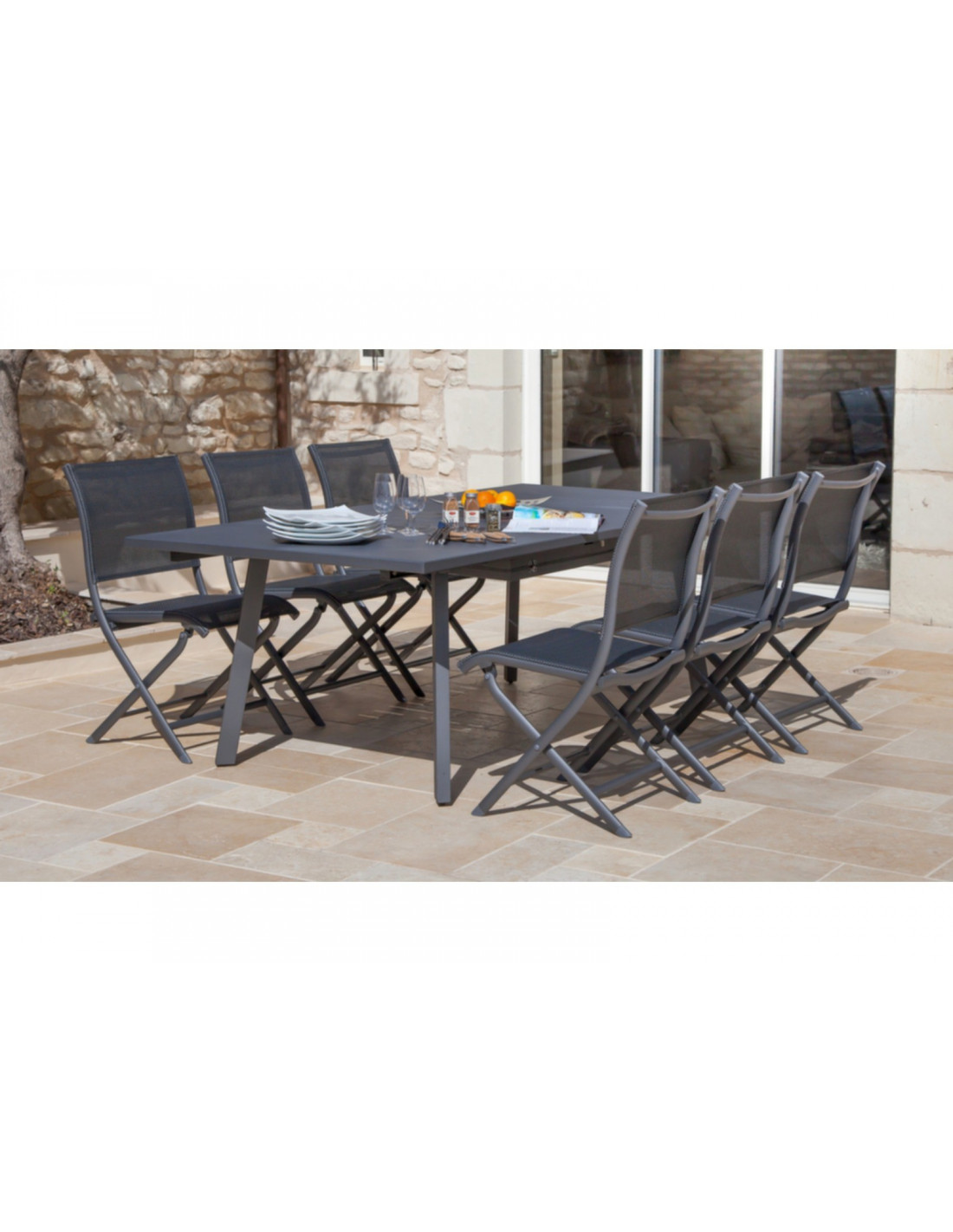 Chaise de jardin Elegance en aluminium grey et textilène - Océo