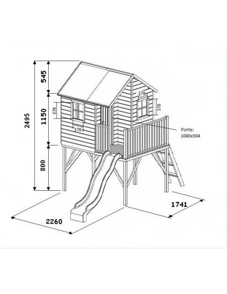 Cabane de jardin LOUIS en bois avec toboggan
