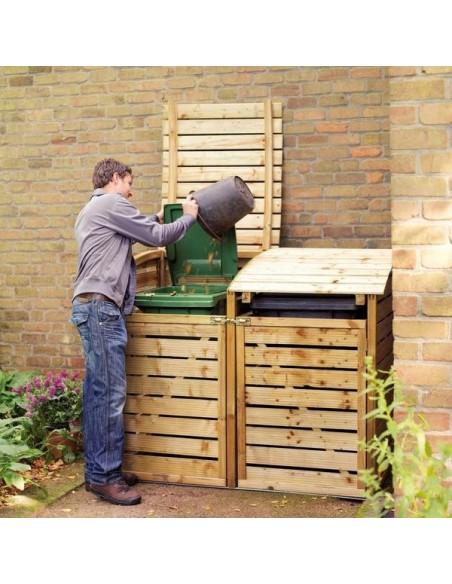 Cache-poubelle en bois traité