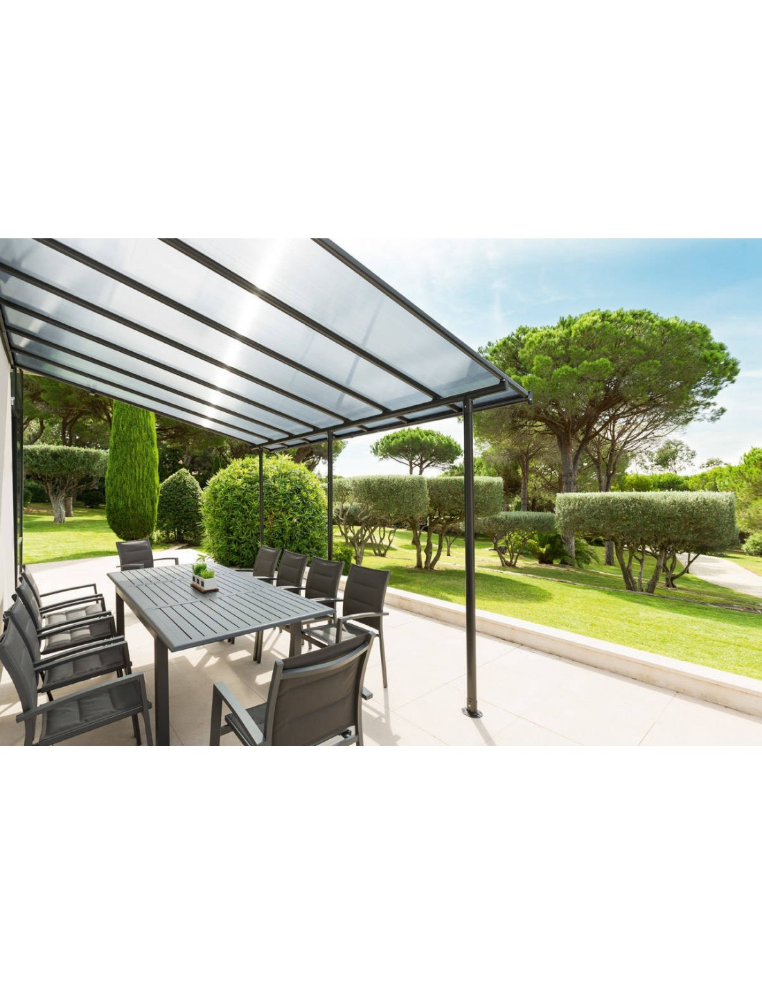 pergola adoss belize 4x3 m en aluminium et polycarbonate hesperide. Black Bedroom Furniture Sets. Home Design Ideas