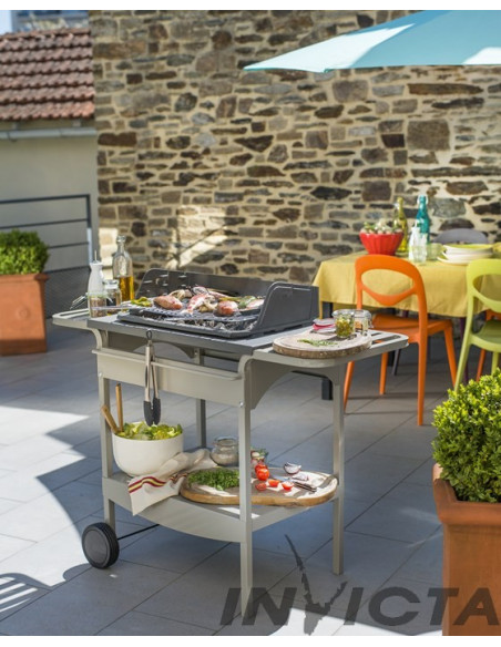 Barbecue fonte Madisson gril bois et charbon - chariot métal - Invicta