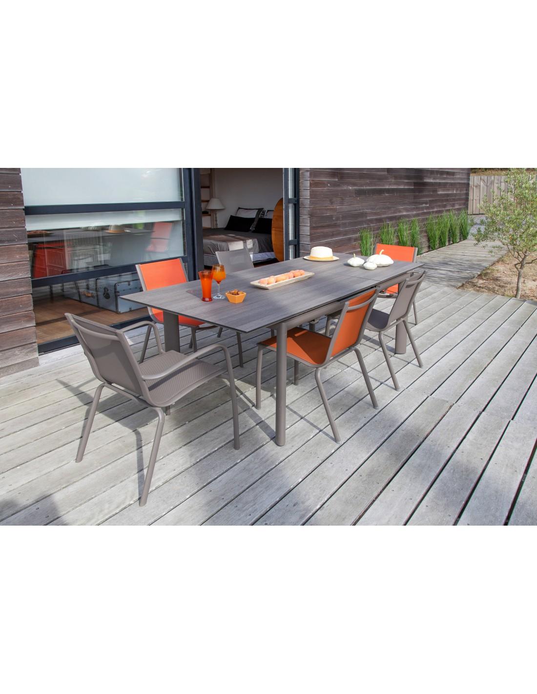 Chaise de jardin Linea - Aluminium café , café Paprika - Proloisirs