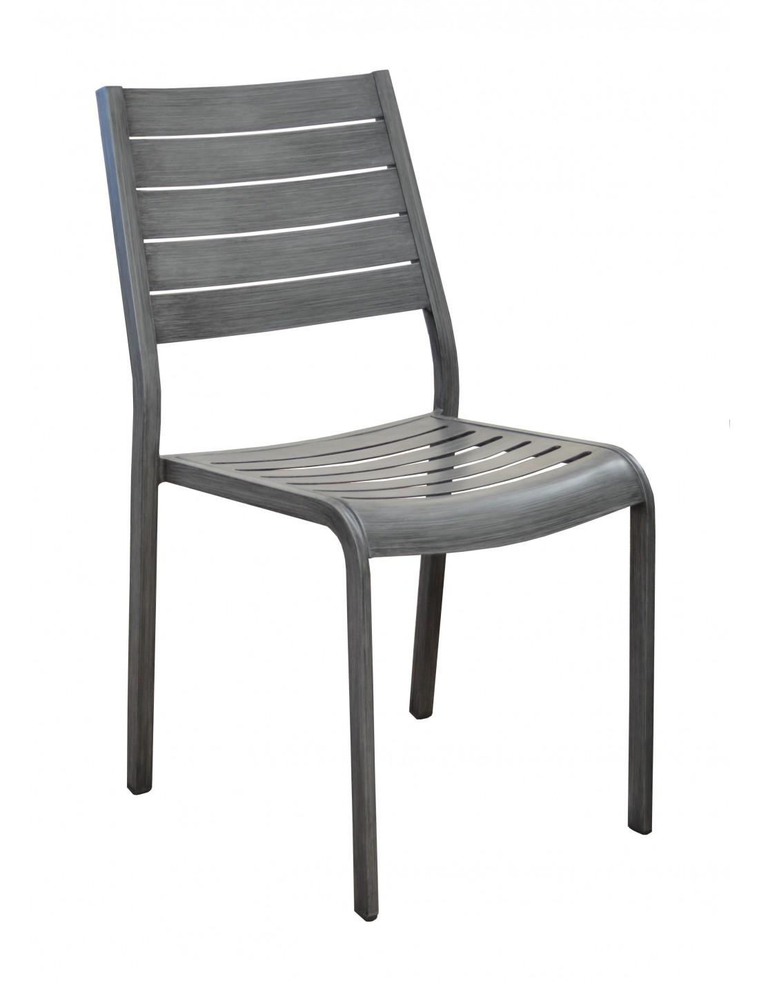 Chaise de jardin flower en aluminium brush ice ou brun proloisirs - Chaise de jardin aluminium ...