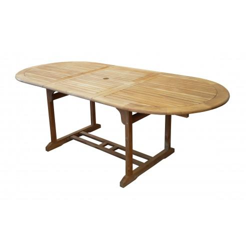 Table de jardin Hampton en teck allonges 160/220 x 100 cm - Proloisirs
