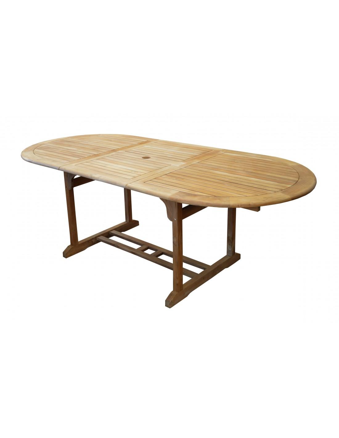 table de jardin hampton en teck allonges 160 220 x 100 cm proloisirs. Black Bedroom Furniture Sets. Home Design Ideas