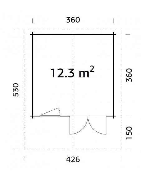 Abri de jardin Sally 13 m² avec plancher en bois massif 44 mm
