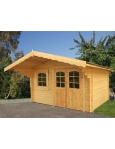 Abri de jardin Sally 13 m² avec plancher - Bois massif 44 mm