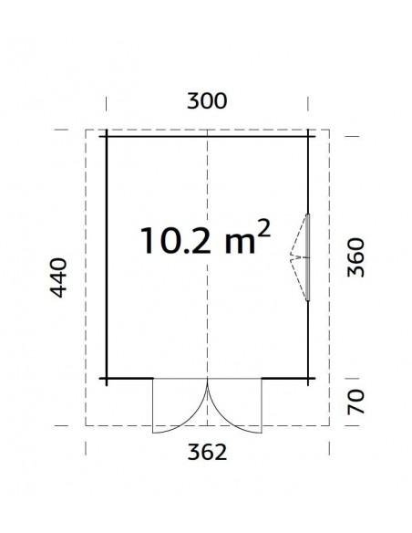 Abri de jardin Sally 10.8 m² avec plancher en bois massif 44 mm