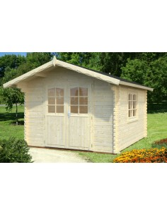 Abri de jardin Sally 10.8 m² avec plancher - Bois massif 44 mm