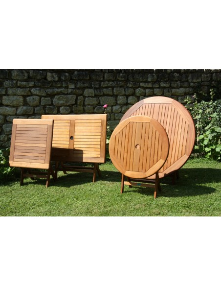 Table de jardin Sophie pliante 70x70cm ou 110x70cm en Eucalyptus - Proloisirs