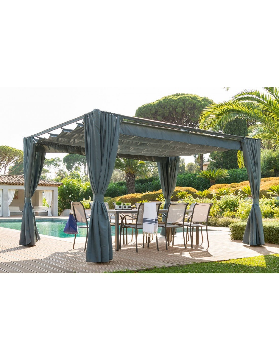 Tonnelle de jardin palmeira ardoise en aluminium 3 x 4 m - Tonnelle de jardin aluminium ...