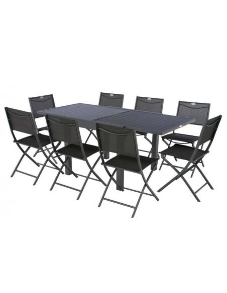 Table de jardin Piazza extensible 8 places en Aluminium graphite - Hespéride