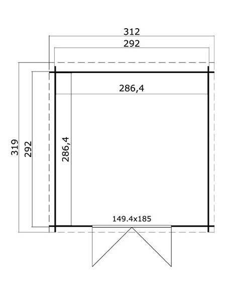 Abri de jardin Miami 8.5 m² bois massif 28 mm