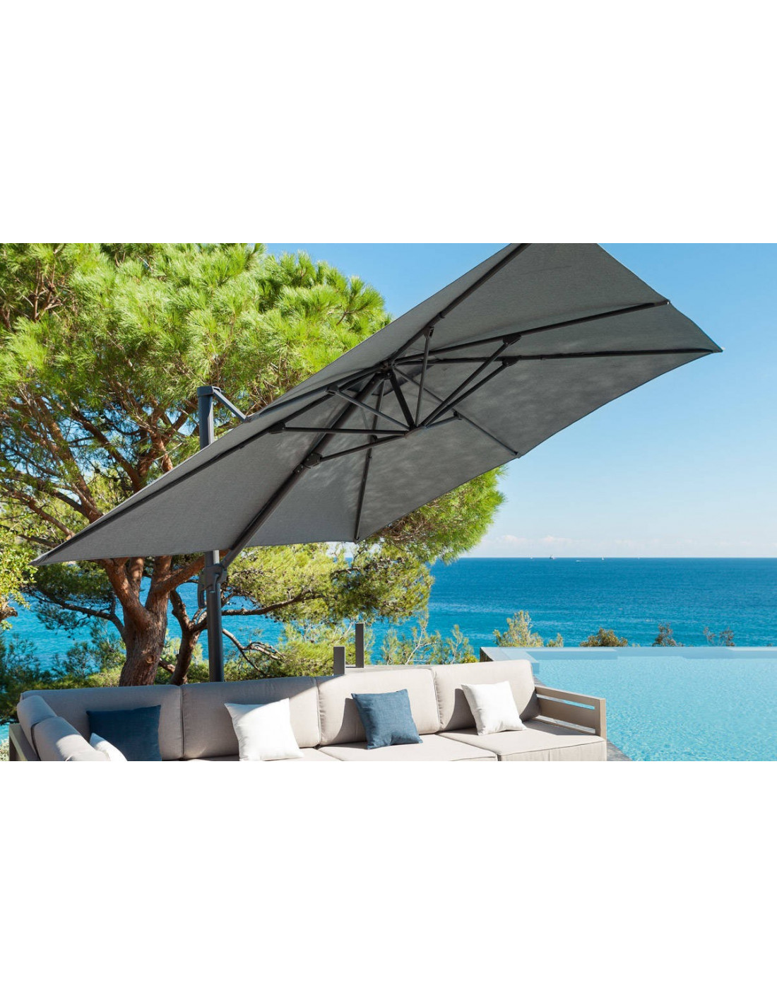 Parasol d port el a 3 x 3 m anthracite ou gr ge hesp ride - Parasol deporte orientable et inclinable ...