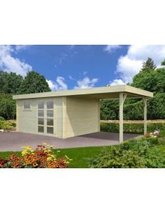 Abri de jardin Elsa 11.7 m² + Auvent 3.1 m- Bois massif 28 mm