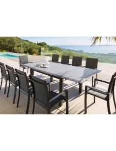 Table extensible Allure 10 places - Aluminium et HPL gris rayé - Hespéride