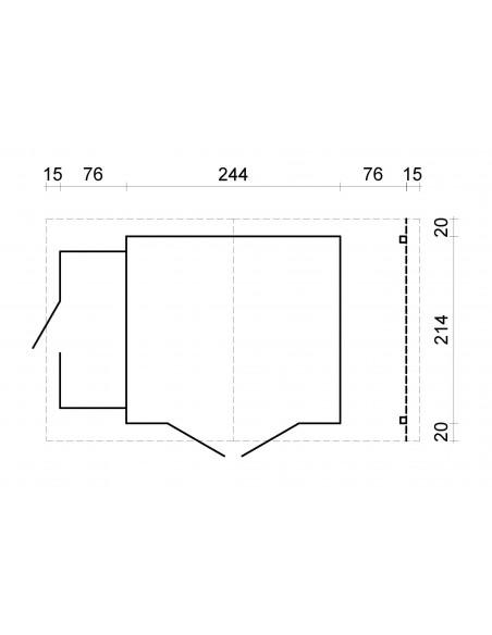 Abri de jardin Méribel 8.5 m² + appentis - Bois massif 19 mm
