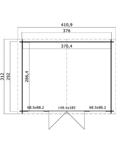 Abri de jardin Dallas 11 m² en bois massif 28 mm